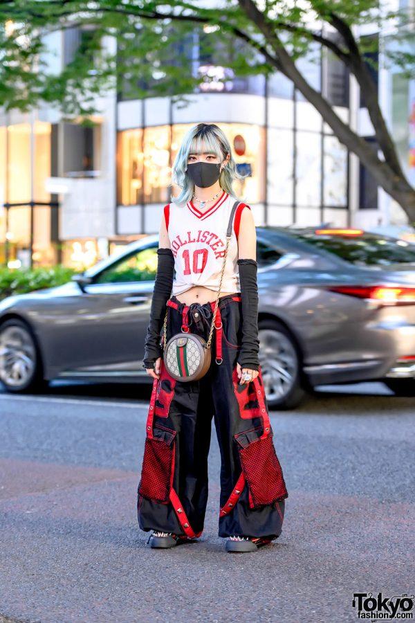 Harajuku Girl in 1990's Street Style w/ Hollister Crop Top, Tripp Pants, Gucci Circle Bag & 53045 Spike Sneakers
