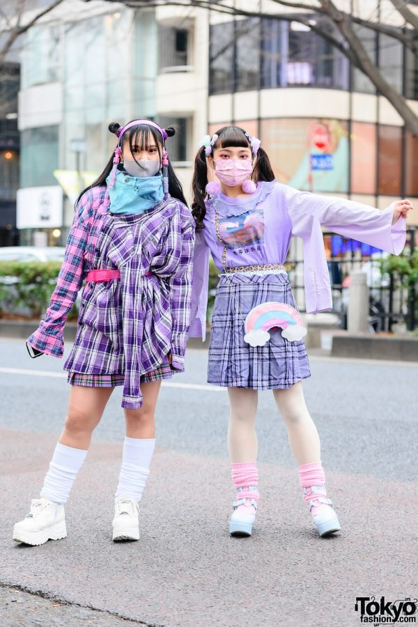 Paporin Purple Plaid Kawaii Street Styles in Tokyo w/ Twin Tails, Daiso Rainbow Bag, Pleated Skirts, Kinji Harajuku, Seria, Yosuke & CS T&P Shoes