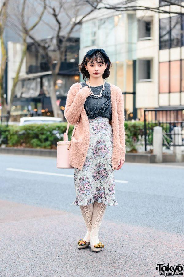 Retro Vintage Harajuku Street Style w/ Bow Headband, Pearl Necklace, Vintage Fuzzy Cardigan, Milk Floral Print Pencil Skirt, Bucket Bag & Jeffrey Campbell Kitten Heels