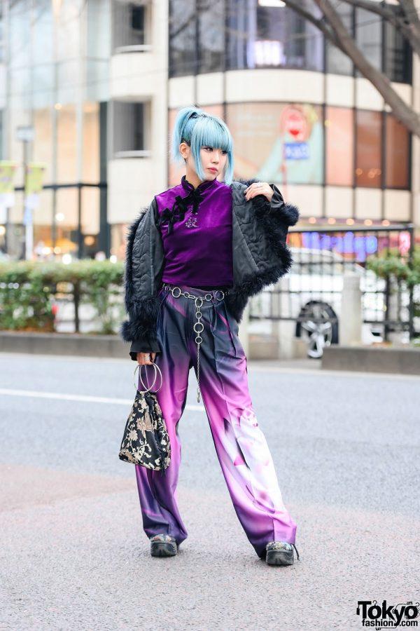 Harajuku Girl Street Style w/ Blue Hair, Jeweled Nails, Spinns Jacket, Mandarin Collar Top, Graphic Pants, Yubi Ga Ippon Bag & WC Shoes