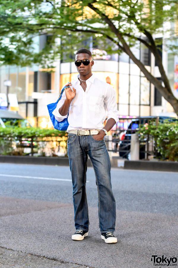 Fashion Model in Harajuku w/ Rick Owens, Ikea, UNIQLO, Gallery Dept, Chrome Hearts & UR Jewelry Japan