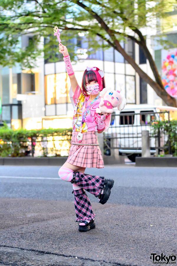 Harajuku Girl in Pink Kawaii Pretty Cure Anime Fashion w/ Pekorin Plush, Magical Girl Wand, Kuromi & Hello Kitty
