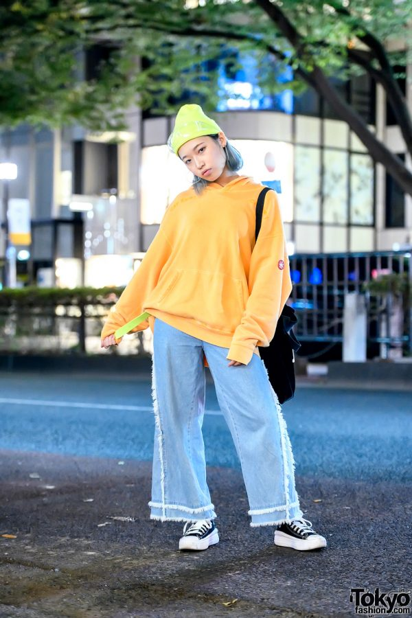 Harajuku Girl in Resale Street Style w/ CAV EMPT Hoodie, Neon Belt, Raw Edge Jeans & Converse High Top Sneakers
