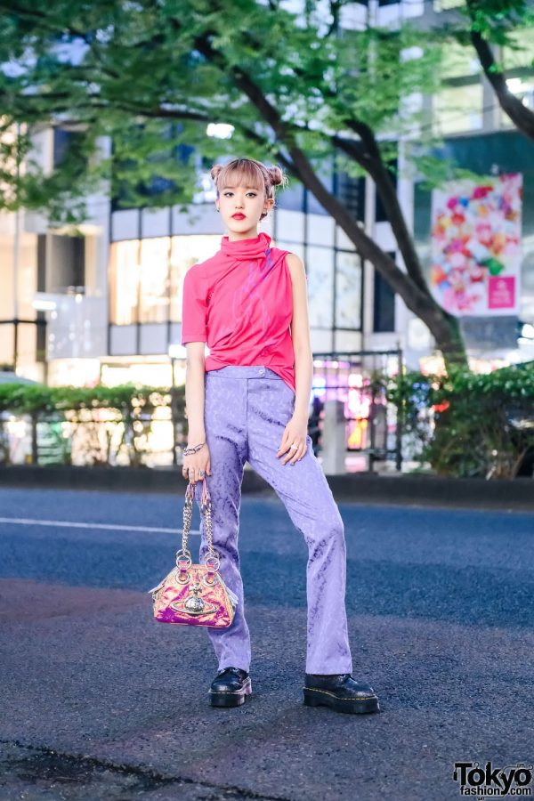 Harajuku Girl in Keisuke Yoshida Street Style w/ Funktique Tokyo Brocade Pants, Vivienne Westwood Handbag & Dr. Martens