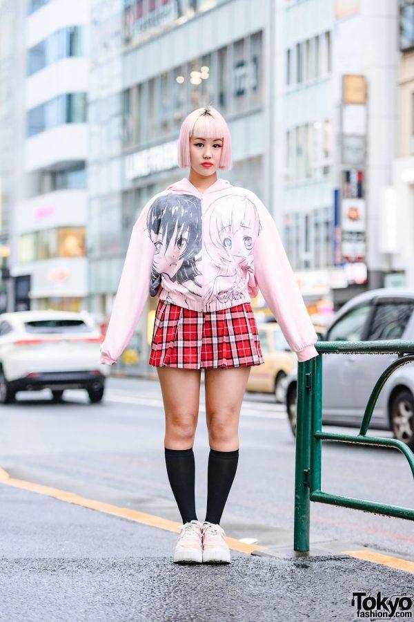 Japanese Pink Bob Hairstyle, Manga Girls Hoodie, Plaid Mini Skirt & Pink Platform Shoes in Harajuku