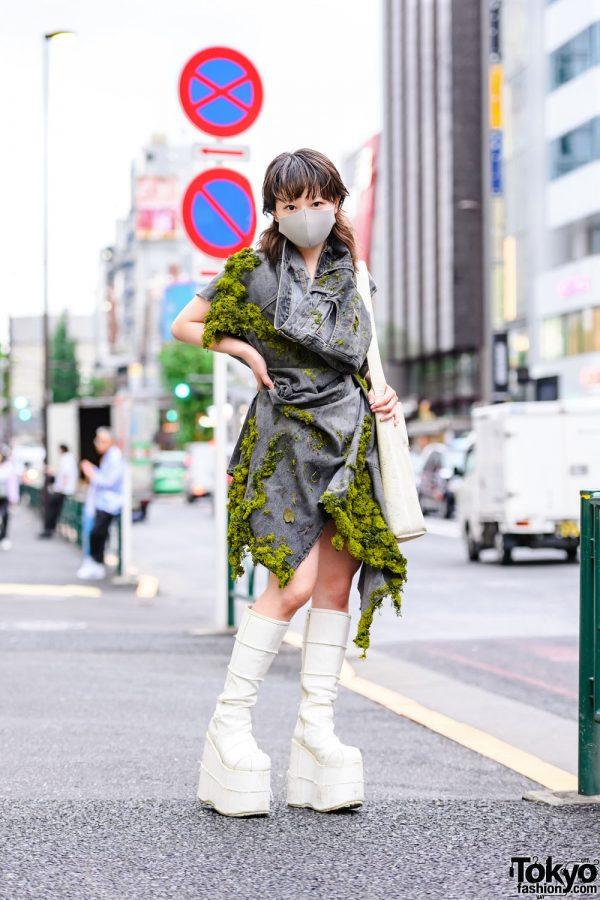Japanese Fashion Designer in Handmade Moss-Covered Denim Dress & Tall Boots on the Street in Harajuku