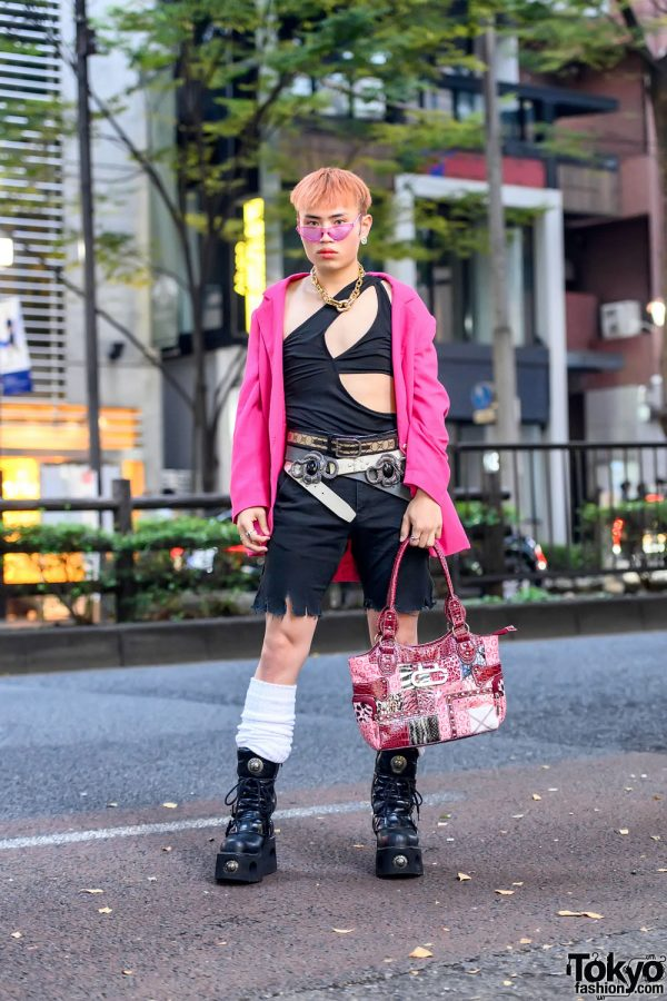 Harajuku Guy in Cutout Top, Pink Blazer & Loose Socks w/ Handmade Fashion, Gucci & New Rock