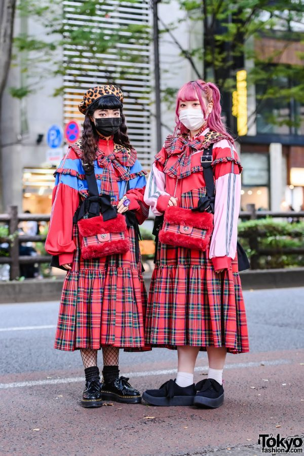 HEIHEI Harajuku Red Plaid Street Styles w/ Ruffle Harnesses, Dr. Martens & Tokyo Bopper