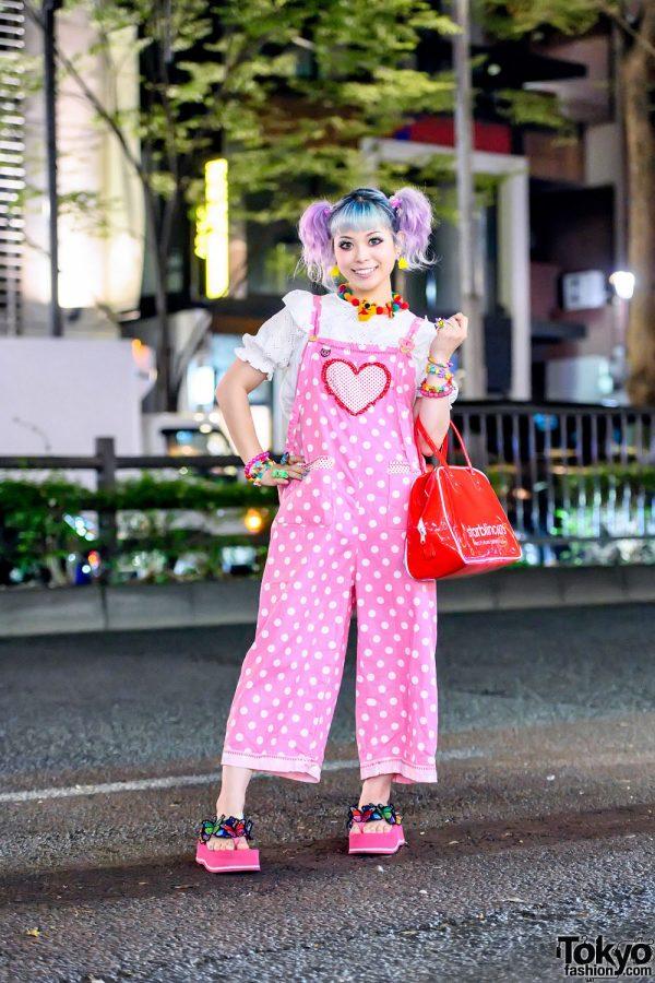 Japanese Kawaii Influencer in Harajuku w/ Pastel Hair, Pink Hime Overalls, Decora Accessories, Starblinc Bag & Platform Sandals