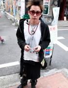 Harajuku Guy in Distressed Fashion & Silver Jewelry