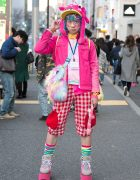 Junnyan's Pink Kawaii Harajuku Street Style w/ Monster Hat, Monster Bag, Milklim & Candy Stripper