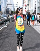 Flower Crown, Bindi, Tie-Dye Top & Yin Yang Leggings in Harajuku