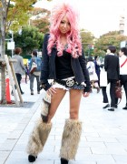 Black Diamond Gyaru Yukahime w/ Pink Hair & Furry Leg Warmers