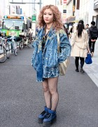 Acid Wash Denim Jacket, Fishnets & 3rd by Vanquish Platforms