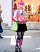 Adidas Dragon Jacket, Pink Hair, Kanji Bag & YRU Platforms in Harajuku