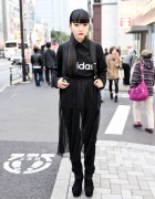 All Black Harajuku Street Style w/ Sheer Skirt & Suede Wedges