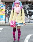 Ahoge & Pastel Twintails in Harajuku w/ Sweater, Striped Socks & Loafers