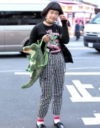 Harajuku Girl in Glasses w/ Listen Flavor, Alligator Backpack & Checkered Pants