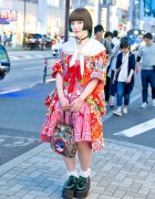 Kimono Coat w/ Angelic Pretty, Under Dye Bob Hair & Yosuke Creepers in Harajuku