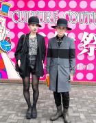 Stylish Tokyo Couple in Hats w/ Kris Van Assche, Tellsit & Juun.J