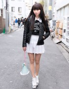 Pleated Skirt, Leather Jacket & Fifi Chachnil Bag in Harajuku