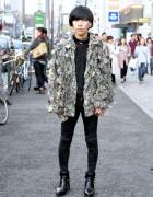 Shredded Camo Jacket, Astrid Andersen & Banal Chic Bizarre Heels in Harajuku