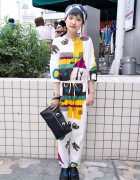 Blue Silver Hair, Graphic Jumpsuit & Googly Eyes Clutch in Harajuku
