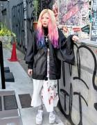 Ena's Dip Dye Hair, Sheer Kimono Top & YRU Platform Sandals in Harajuku