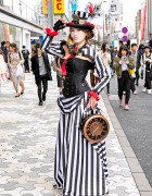 Japanese Dancer in Harajuku Steampunk Street Style & Giant Clock Bag