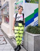 Neon Barbed Wire Pants & Super Lovers Backpack in Shibuya