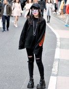 Harajuku Girl in Dark Street Style w/ Basic Cotton, a'gem, Demonia & Rasvoa