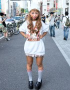 Betty Boop Sweatshirt, Pink Plaid Skirt, Troll & Monchhichi in Harajuku
