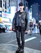 Biker Jacket, Evangelion Tee, Leather Pants & Creepers in Harajuku