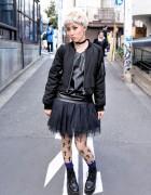 Emoda Bomber & Tulle Skirt w/ O-Ring Choker & Platforms in Harajuku