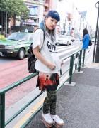 Short Blue Bangs, Rainbow Platforms & Nincompoop Capacity Backpack in Harajuku