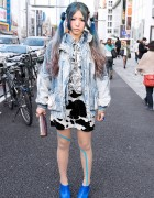 Blue Ombre Hairstyle, Acid Wash Jacket & Graphic Tights in Harajuku