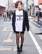 Harajuku Girl in Boy London, Garter Stockings & Platform Booties