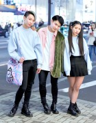 Harajuku Trio in Bubbles Pastel Sweatshirts, Dr. Martens Boots & Stussy