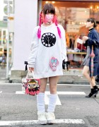 Pink Braids, Hello Kitty Mask, My Melody, Duffy & Little My in Harajuku