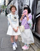 Bubbles Sheer Skirt, Platform Sandals & Teletubby in Harajuku