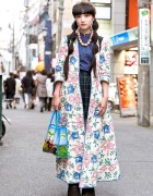 Harajuku Girl w/ Floral Coat, Buffalo Platforms & Teletubbies Tote