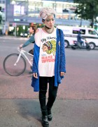 Blue Shaved Hair, Piercings & C-Closet Park Fashion in Shibuya