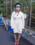 Lavender-Blue Hair, Cable Knit Sweater & Tattoo Tights in Harajuku