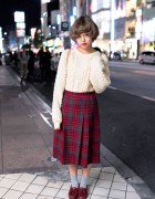 Oversized Cable Knit Sweater, Plaid Skirt & Loafers in Harajuku