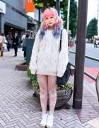 Dip Dye Hair, Cable Knit Sweater, Prada & Jeffrey Campbell in Shibuya