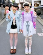 Harajuku Girls w/ Sheer Skirts, Loafers, Cute Accessories & Lollipops