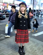 Candy Stripper Sailor Jacket, Plaid Midi Skirt & Platform Heels in Harajuku