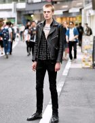 Carolina Sarria Leather Jacket, Skinny Jeans & Dr. Martens on Cat Street in Harajuku