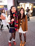 Pom Pom Scarf, Letterman Jacket & Wallabee Shoes in Shibuya