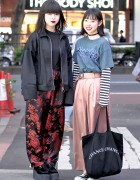 Harajuku Girls in Faith Tokyo Satin Pants, Hoop Earrings, ChanceChance & MYOB NYC
